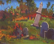 Michael Moss (1951- ) Winthrop Cemetary, Provincetown, Oil on masonite