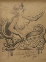 Louis Eilshemius (1864-1941) Nude, 1901, Graphite