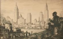 ROBERT W. AMICK (1879-1969), Manhattan Skyline, 1934, Ink on heavy artist board