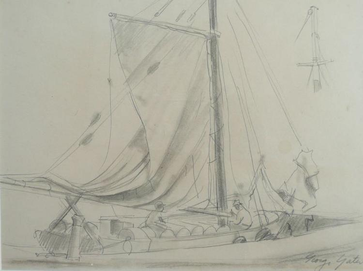 GEORGE YATER (1910--1993), Native Sloop, Graphite