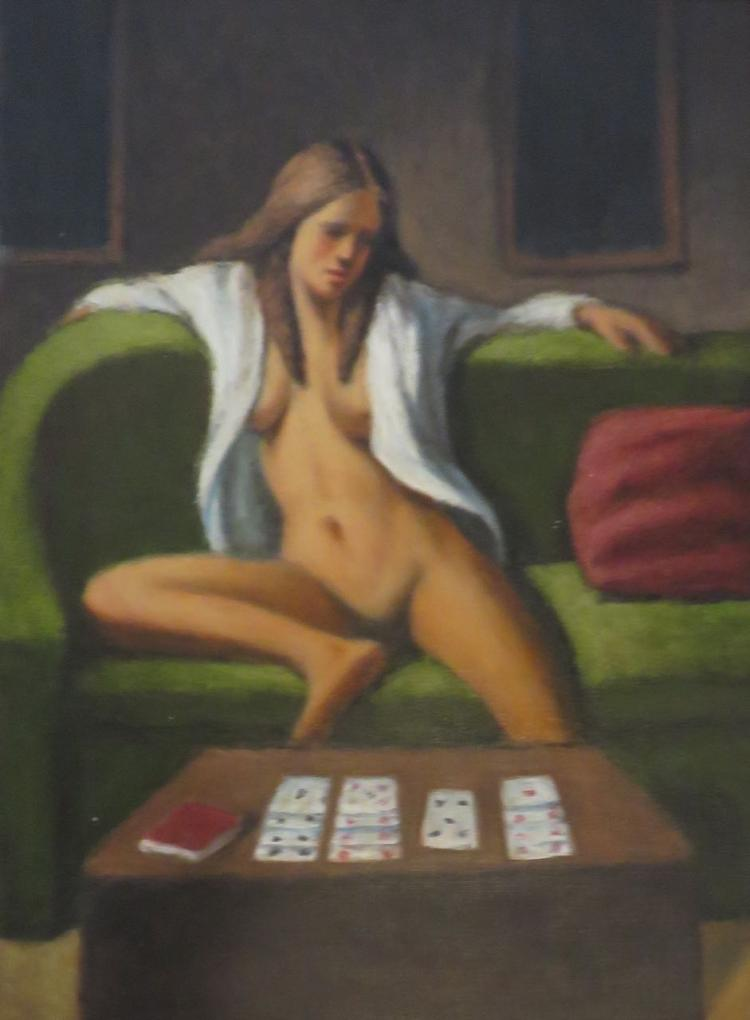 SAM ABATE (1946-2011), Solitare, Oil on panel