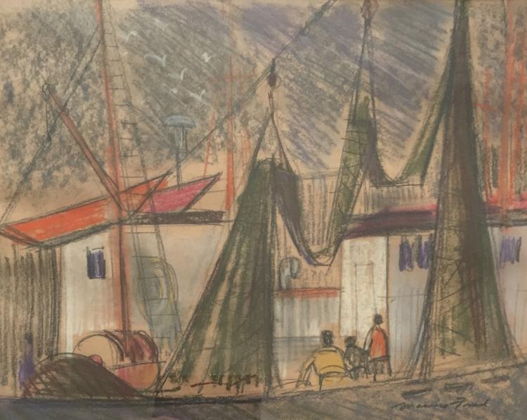 MAURICE FREED (1911-1981), Dock Scene, Pastel