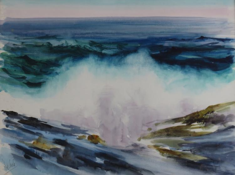 CHARLES DE CARLO (1911-2003), Rocks & Surf, Monhegan #1, watercolor, unframed