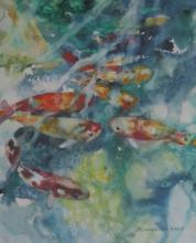 ELIZABETH PRATT (1964- ), Fishy Business, watercolor, framed