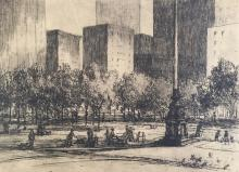 HAROLD COLLINSON (b. 1886), Central Park, Etching