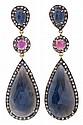 Rubies and sapphires long earrings