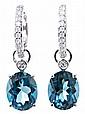 Topazes and diamonds pendant earrings.
