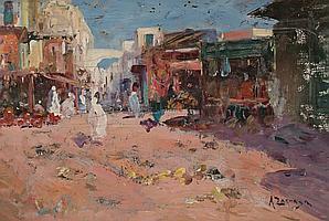 Andrés Larraga Valtierra 1862 - Barcelona 1931 Zoco árabe Óleo sobre tabla