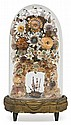 Flower display made of seashells and ships in glass bell jar, late 19th century Base in gilded wood covered with a sheet of embossed