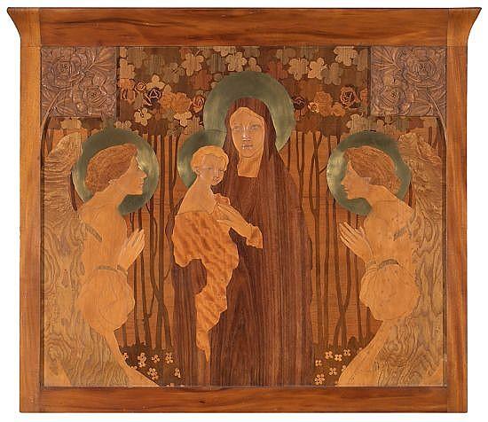 Gaspar Homar Buñola, Mallorca 1870 - Barcelona 1955 Virgen con el Niño y ángeles orantes Plafón modernista en marquetería de maderas...