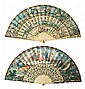 Two French fans with sticks in polychrome bone with metal incrustations, 18th century Grounds in painted paper on the front and back