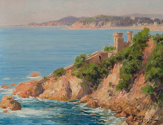 Domingo Soler Sabadell 1871 - 1952 The castle Beach of Lloret de Mar