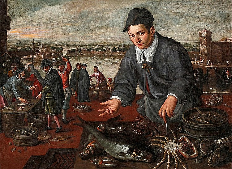 Dirck de Vries (Holland, circa 1550-Venice, circa 1600) Fish vendor