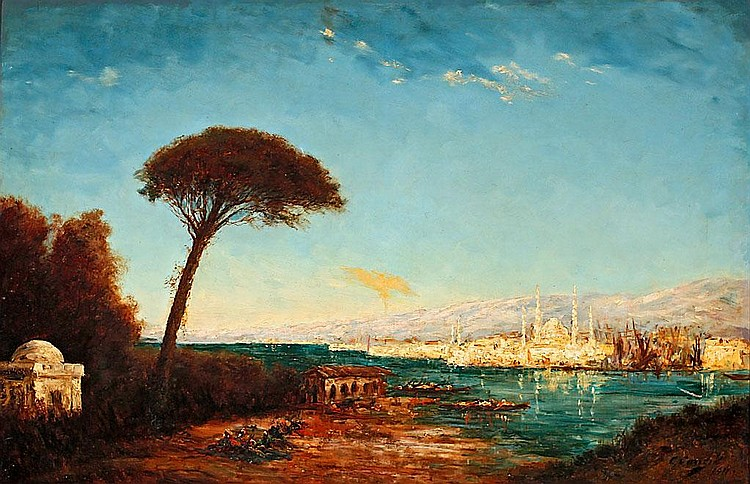 Charles Cousin (Paris, second half of the 19th century) View of Istanbul