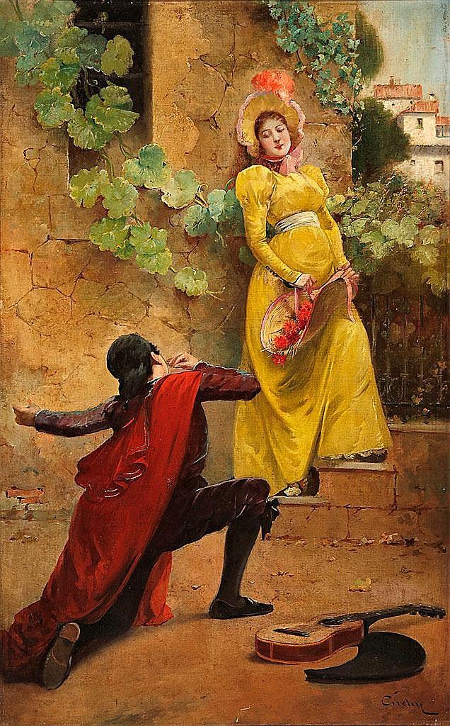 José Cuchy Arnau (Arecibo, Puerto Rico, 1860-Barcelona, 1925) Gallant Scene