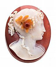 Angelo Antonio Amastini Fossombrone, 1750 - ?, c. 1816 Cameo, late 18th-early 19th Century In carved agate depicting the bust of a lad