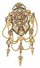 Gold, enamel and diamond brooch, circa 1870 Gold, enamel, diamonds, rose cut, 0.30 cts, and dewdrop pearls. Slight flaws in the enamel.