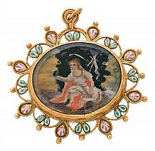 Rosary decoration, probably Majorcan, late 17th Century Gold, enamel and central medallion with the miniatures of the Divine Shepherdes