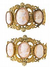 Pair of bracelets with cameos, circa 1830 Gilt metal and carved tortoiseshell cameo depicting male busts. Reference literature: Hugh Ta