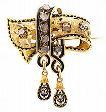 Diamond bow brooch, last quarter of the 19th Century Gold, enamel and diamonds, rose cut, 1.45 cts. Slight flaws in the enamel. 7x5.8 c