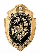 A gold and enamel brooch, circa 1870