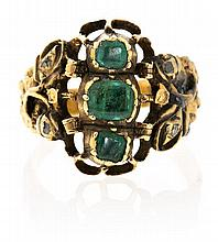 A gold and emeralds Barcelona ring, from the 19th Century
