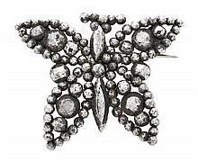 A butterfly-shaped French brooch, circa 1875