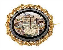 An Italian brooch with a micro-mosaic plaque, circa 1820