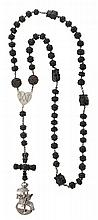 A silver and jet Spanish rosary, from the 17th Century