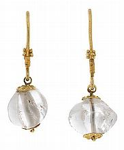 Gold and rock crystal earrings