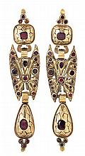 A gold and enamel Catalan earrings, from the 19th Century