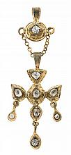 A pigeon-shaped pendant, probably from the late 18th Century Gold-