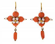Pearls and coral beads pendant earrings, from the 19th Century