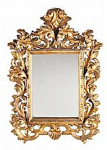 Pair of Spanish 18th-century-style small decorative mirrors in carved and gilded wood, early 20th century, Damaged , 45x31 cm