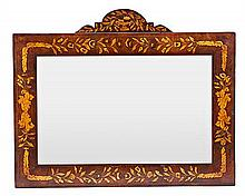 Mirror, probably Valencian, in mahogany with floral satinwood marquetry, first third of the 20th century, , 76x92 cm