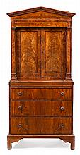 A mahogany and mahogany palm collector's cabinet on a chest of drawers in Biedermeier style, from the late 19th Century Designed to c