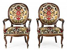 Pair of Isabella II-style armchairs in stained beech, early 20th Century 100 cm high