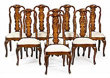 Set of eight Dutch-style ash chairs with fine wood inlay, early 20th Century Backrests with floral decoration 109 cm high