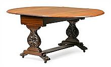 A carved mahogany Victorian table with wings, from the second half of the 19th Century