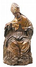Spanish school of the 16th Century Holy Bishop Sculpture in carved, gilded, polychrome and