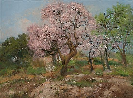 Aureli Tolosa Barcelona 1861 - 1938 Almond Trees in Blossom OIl on canvas Signed. Attached, certificate of Marçal Barrachina, signed i