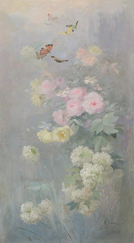 Aureli Tolosa Barcelona 1861 - 1938 Flowers OIl on canvas Signed 117x65 cm