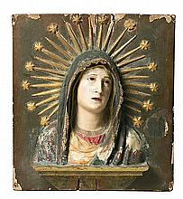 Spanish school of the 18th Century Sorrowful Virgin High relief in wood and polychrome and gilded stucco 48x44 cm