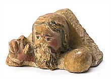 Spanish school of the 16th Century God the Father Sculpture in polychrome limestone 11x19.5x14 cm
