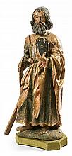 Spanish school of the 17th Century Saint Andrew Sculpture in carved, polychrome and gilded wood Velvet-covered wooden pedestal 71x26x14