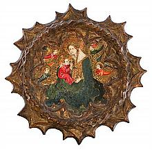 Attributed to the Valencian school, first third of the 15th Century The Virgin with the Child Painting in tempera and gold leaf on wood