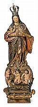 Seville school of the 17th Century Immaculate Virgin Sculpture in carved, gilded and polychrome wood with carved, gilded, polychrome wo