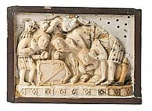 Castilian school, second half of the 14th-early 15th Century Mourners Marble relief, partially polychrome Fragment of a tomb 29x41x11.