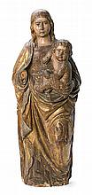 Castilian school, first half of the 16th Century Virgin with the Child Sculptural group in carved, gilded and polychrome wood 93 cm hig