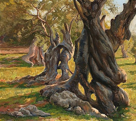 Joan Fuster Bonnin Palma de Mallorca 1870 - 1943 Olive Trees OIl on canvas Signed 61x69.2 cm